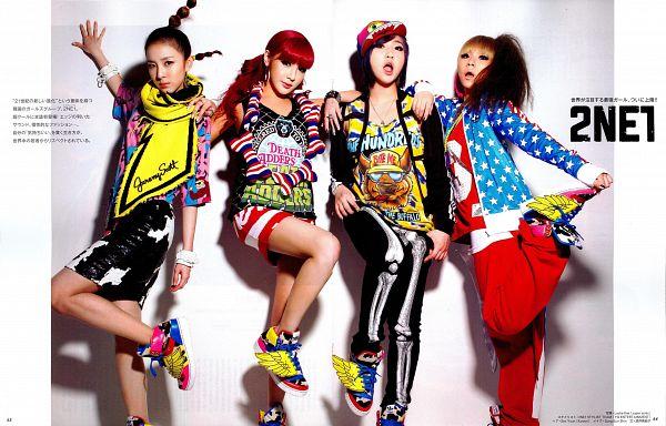 Tags: K-Pop, 2NE1, CL, Park Bom, Sandara Park, Minzy, Red Shirt, Quartet, Scarf, Four Girls, Hair Up, Yellow Shirt