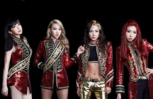 Tags: K-Pop, 2NE1, Sandara Park, Minzy, CL, Park Bom, Necklace, Four Girls, Red Outfit, Midriff, Full Group, Red Hair