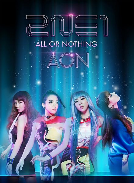 Tags: K-Pop, 2NE1, Minzy, CL, Park Bom, Sandara Park, Blue Background, Blue Hair, Full Group, Wavy Hair, Black Dress, English Text