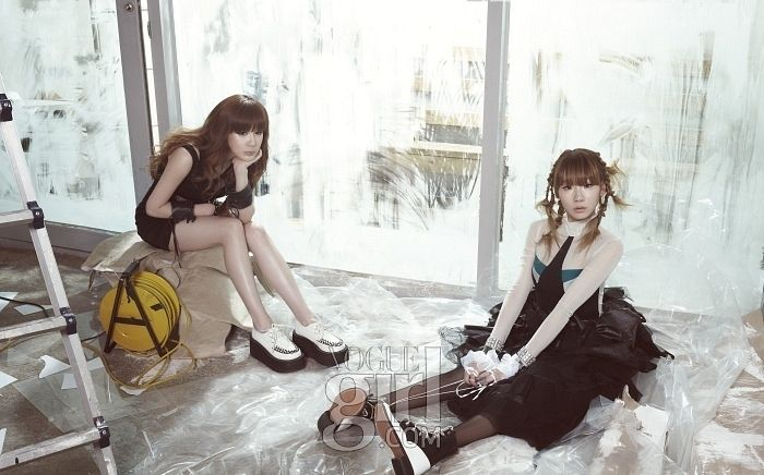 Tags: K-Pop, 2NE1, CL, Park Bom, Shoes, Chin In Hand, White Footwear, Two Girls, Sneakers, Bare Legs, Duo, Sitting On Ground