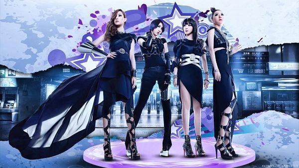 Tags: K-Pop, 2NE1, CL, Park Bom, Sandara Park, Minzy, Hair Up, Black Gloves, Necklace, Black Dress, Blue Hair, Gloves