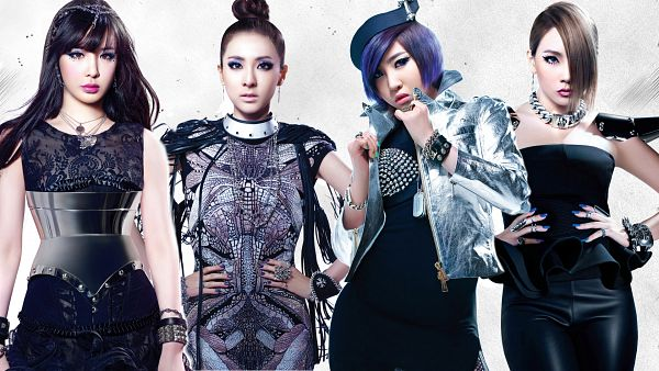 Tags: K-Pop, 2NE1, Sandara Park, Minzy, CL, Park Bom, Hair Up, Sleeveless, Four Girls, Blue Hair, Sleeveless Shirt, Necklace
