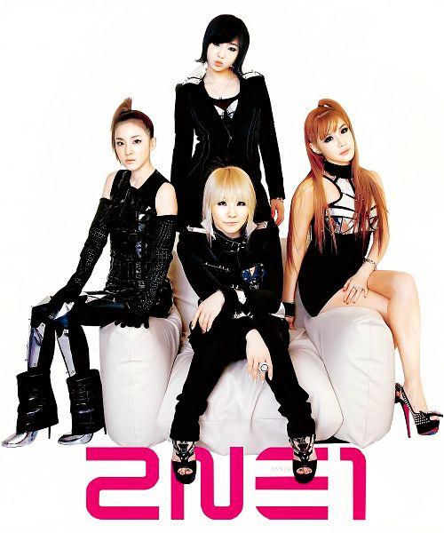 Tags: K-Pop, 2NE1, I Am The Best (Song), Park Bom, Sandara Park, Minzy, CL, White Background, Crossed Legs (Standing), Medium Hair, Quartet, Black Outfit