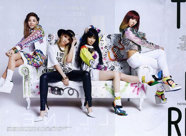 Tags: K-Pop, 2NE1, Sandara Park, Minzy, CL, Park Bom, Black Headwear, Black Pants, Full Group, Gray Outerwear, Necklace, Light Background