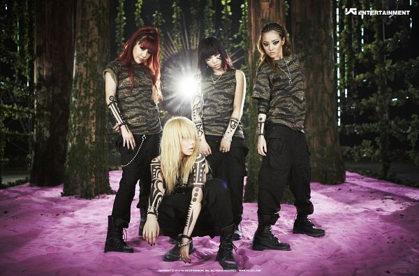 Tags: YG Entertainment, K-Pop, 2NE1, Clap Your Hands (Song), CL, Park Bom, Sandara Park, Minzy, Tree, Covering Eyes, Kneeling, Matching Outfit