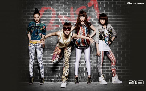 Tags: YG Entertainment, K-Pop, 2NE1, Fire (2NE1), Sandara Park, Minzy, CL, Park Bom, Leaning On Wall, Text: Artist Name, Sneakers, Full Group