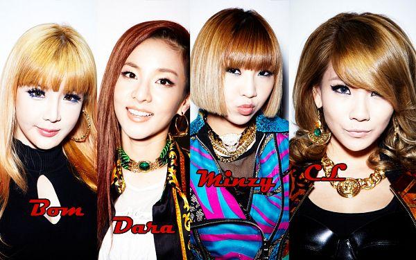 Tags: YG Entertainment, K-Pop, 2NE1, I Love You (Song), CL, Park Bom, Sandara Park, Minzy, Black Jacket, Grin, Blue Dress, Light Background