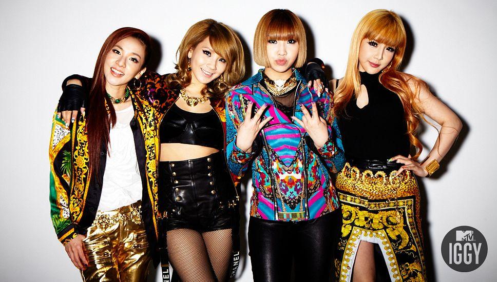 Tags: K-Pop, 2NE1, CL, Park Bom, Sandara Park, Minzy, Blue Jacket, Gold Pants, Shorts, Laughing, Arm Around Shoulder, Leather Shorts