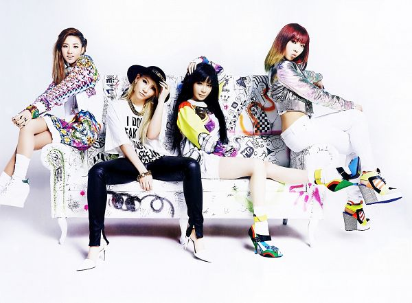 Tags: K-Pop, 2NE1, Sandara Park, Minzy, CL, Park Bom, Sitting On Couch, White Footwear, Shoes, Quartet, Hat, Black Pants