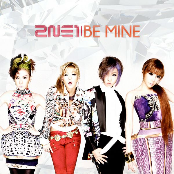 Tags: K-Pop, 2NE1, Be Mine, Sandara Park, Minzy, CL, Park Bom, Purple Outfit, Bracelet, Text: Artist Name, Black Pants, Full Group