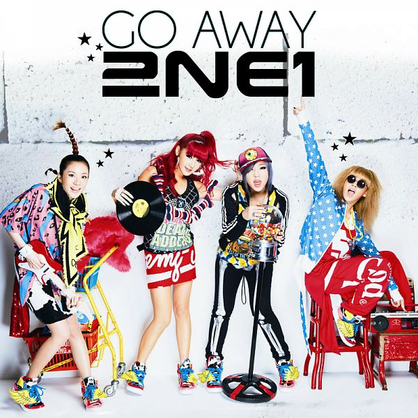 Tags: K-Pop, 2NE1, Go Away, CL, Park Bom, Sandara Park, Minzy, Red Hair, Sunglasses, Hair Up, Blue Jacket, White Background