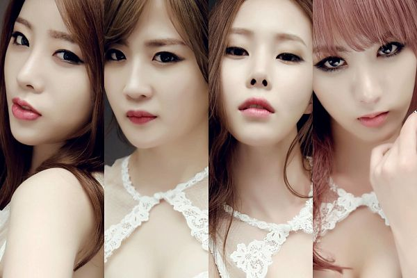 Tags: K-Pop, 4L, J-na, Chany, Yoo Jayoung, Yeseul, Quartet, Full Group, Four Girls, White Dress, White Outfit, Bare Shoulders
