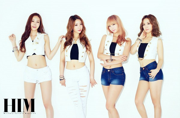 Tags: K-Pop, 4L, Yoo Jayoung, Yeseul, J-na, Chany, White Background, White Shorts, Quartet, Crossed Arms, White Pants, Four Girls