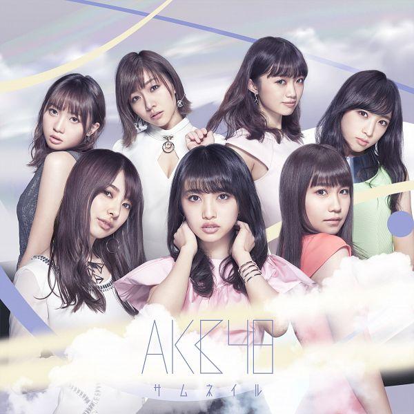 Tags: J-Pop, AKB48, Suda Akari, Nakai Rika, Mutou Tomu, Mukaichi Mion, Oguri Yui, Kizaki Yuria, Kojima Mako, Short Sleeves, Text: Artist Name, Necklace