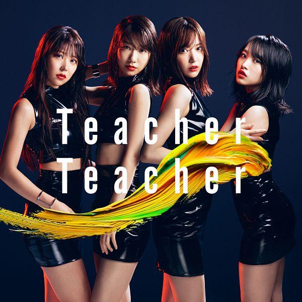 Tags: J-Pop, AKB48, Teacher Teacher, Miyawaki Sakura, Kashiwagi Yuki, Mukaichi Mion, Shiroma Miru, Bare Shoulders, Text: Song Title, Skirt, Black Skirt, Head Tilt