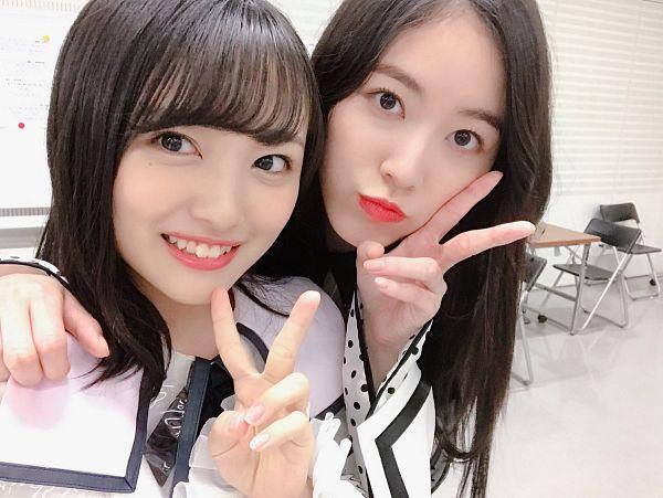Tags: J-Pop, SKE48, AKB48, Mukaichi Mion, Matsui Jurina, V Gesture, Light Background, Arm Around Shoulder, White Background