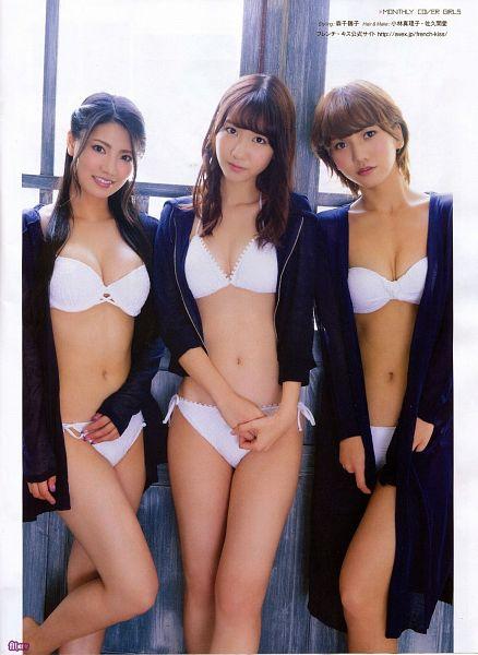 Tags: J-Pop, NGT48, AKB48, Takajo Aki, Kashiwagi Yuki, Kuramochi Asuka, Midriff, Bikini, Swimsuit, Black Jacket, Bare Legs, Trio
