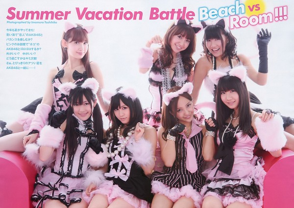 Tags: J-Pop, AKB48, Atsuko Maeda, Miyazawa Sae, Kashiwagi Yuki, Haruna Kojima, Mayu Watanabe, Oshima Yuko, Tomomi Itano, Pink Dress, Black Outfit, Black Dress