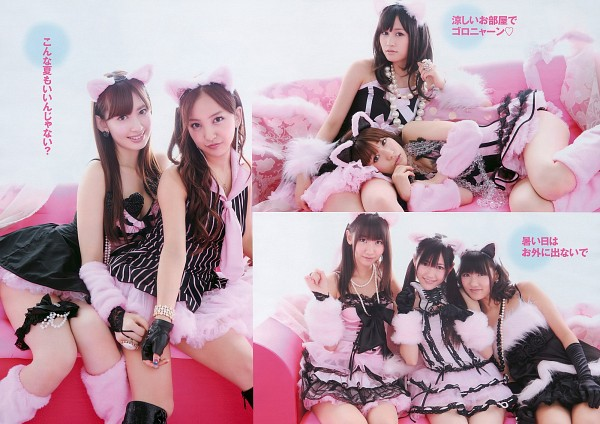 Tags: J-Pop, AKB48, Atsuko Maeda, Haruna Kojima, Kashiwagi Yuki, Mayu Watanabe, Oshima Yuko, Tomomi Itano, Bare Legs, Couch, Sitting On Couch, Pink Outfit