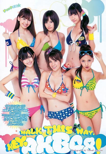 Tags: J-Pop, AKB48, Atsuko Maeda, Tomomi Itano, Kashiwagi Yuki, Haruna Kojima, Mayu Watanabe, Light Background, Glasses On Head, Medium Hair, Armpit, Text: Artist Name