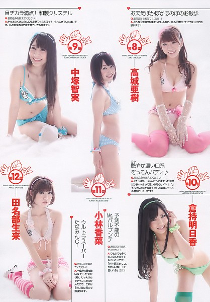 Tags: J-Pop, AKB48, Kobayashi Kana, Takajo Aki, Tanabe Miku, Kuramochi Asuka, Panties, Five Girls, Quintet, Bare Shoulders, Thigh Highs, Collarbone