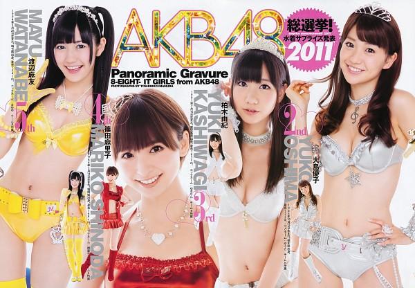 Tags: J-Pop, AKB48, Oshima Yuko, Kashiwagi Yuki, Mayu Watanabe, Shinoda Mariko, Text: Artist Name, Tiara, Bra, Light Background, Bare Shoulders, Panties