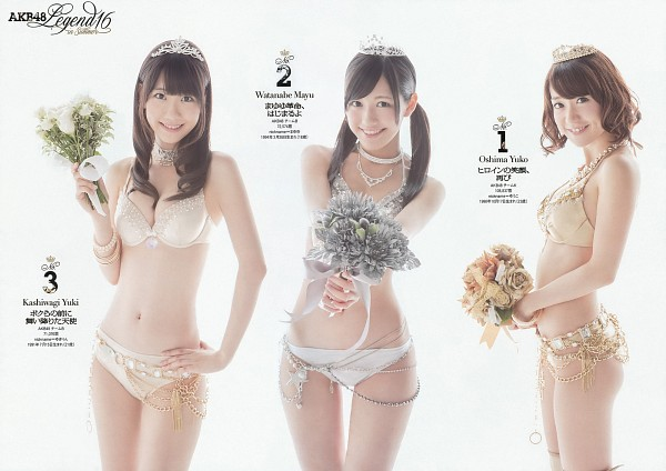 Tags: J-Pop, AKB48, Kashiwagi Yuki, Mayu Watanabe, Oshima Yuko, Choker, Bikini, Necklace, Cleavage, Flower, Tiara, Japanese Text