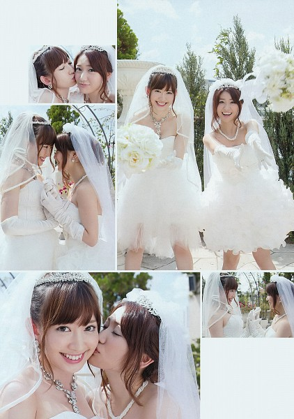 Tags: J-Pop, AKB48, Oshima Yuko, Haruna Kojima, Sleeveless, Panels, Short Dress, Looking At Another, Two Girls, Outdoors, Wedding Dress, Bare Shoulders