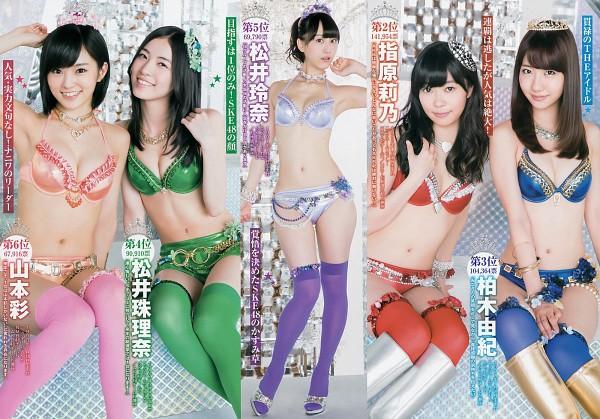 Tags: J-Pop, AKB48, Matsui Jurina, Sayaka Yamamoto, Kashiwagi Yuki, Sashihara Rino, Matsui Rena, Silver Footwear, Suggestive, Crown, Midriff, Red Legwear