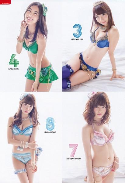 Tags: J-Pop, AKB48, Shimazaki Haruka, Kashiwagi Yuki, Matsui Jurina, Haruna Kojima, Frown, Wavy Hair, Big Breasts, On Bed, Bracelet, White Background