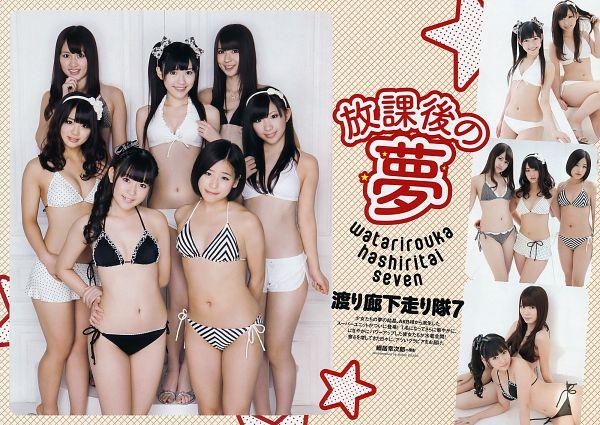 Tags: J-Pop, Watarirouka Hashiritai 7, AKB48, Kazumi Urano, Ota Aika, Iwasa Misaki, Komori Mika, Mayu Watanabe, Kikuchi Ayaka, Sitting On Ground, Collage, Suggestive