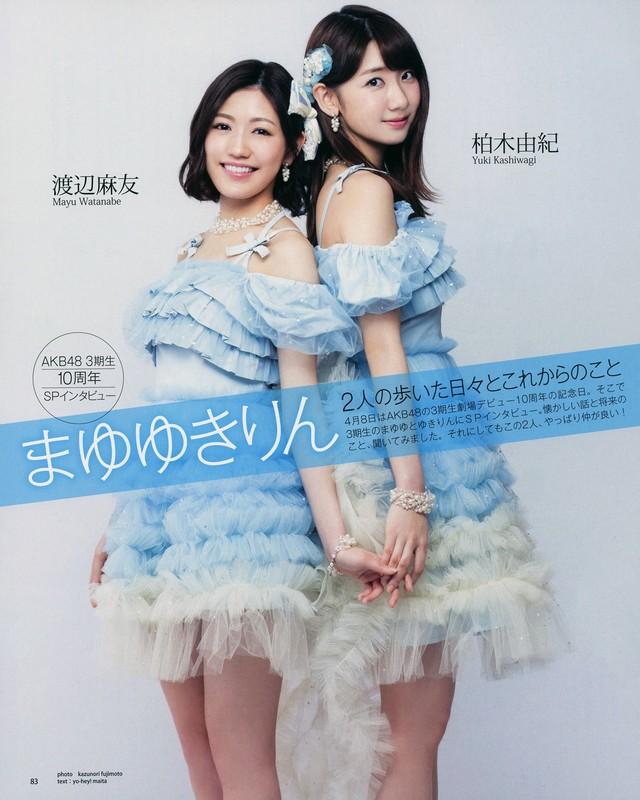 Tags: J-Pop, AKB48, Mayu Watanabe, Kashiwagi Yuki, Blue Outfit, Back To Back, English Text, Bare Legs, Duo, Text: Artist Name, Necklace, Japanese Text