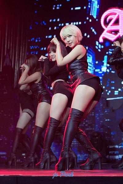Tags: K-Pop, AOA (Ace Of Angels), Like A Cat, Park Choa, Shin Jimin, Black Shorts, Shorts, Suggestive, Sexy Pose, Black Outfit, Black Footwear, Black Dress