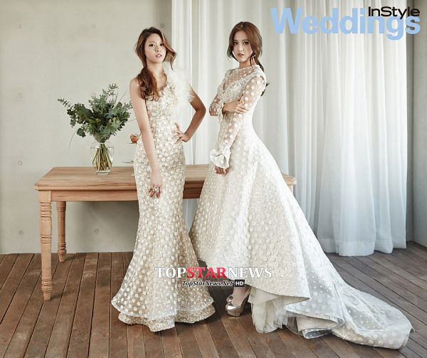 Tags: K-Pop, AOA (Ace Of Angels), Kim Seolhyun, Shin Hyejeong, Light Background, Shoes, Two Girls, White Background, Text: Magazine Name, Hand On Hip, Duo, Bare Shoulders