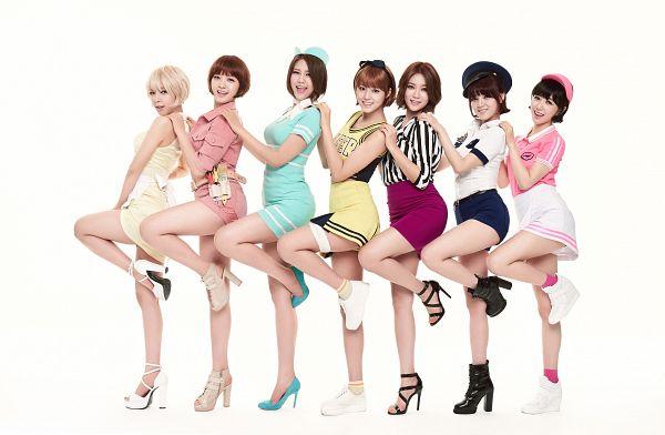 Tags: K-Pop, AOA (Ace Of Angels), Shin Hyejeong, Kim Seolhyun, Shin Jimin, Kwon Mina, Seo Yuna, Park Choa, Kim Chanmi, Standing On One Leg, Full Group, Light Background