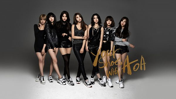 Tags: K-Pop, AOA (Ace Of Angels), Kim Chanmi, Park Choa, Shin Hyejeong, Shin Jimin, Kim Seolhyun, Seo Yuna, Kwon Mina, Full Body, Gray Background, Text: Artist Name