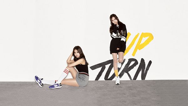 Tags: K-Pop, AOA (Ace Of Angels), Kwon Mina, Shin Hyejeong, Duo, Bent Knees, Two Girls, Sitting, HD Wallpaper, Wallpaper