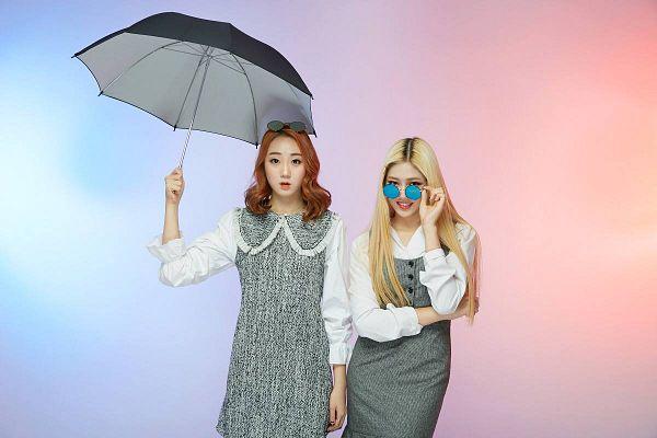 Tags: K-Pop, ATT (Asia Twinkle Treasure), Pop It Up, Joo Ayeong, Lee Seyeon, Glasses Off, Duo, Glasses, Gray Dress, Multi-colored Background, Sunglasses, Glasses On Head