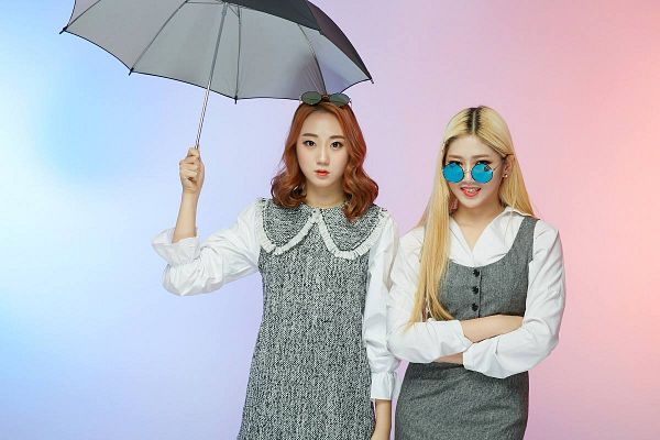 Tags: K-Pop, ATT (Asia Twinkle Treasure), Pop It Up, Joo Ayeong, Lee Seyeon, Glasses, Gray Dress, Multi-colored Background, Sunglasses, Glasses On Head, Two Girls, Crossed Arms