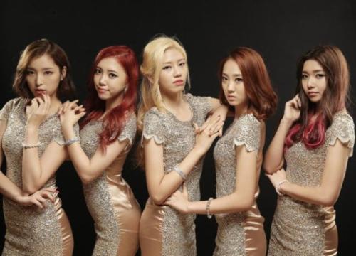 Tags: K-Pop, ATT (Asia Twinkle Treasure), Bae Seohee, Yunjong, Kwak Yujeong, Joo Ayeong, Lee Seyeon, Five Girls, Red Dress, Brown Background, Quintet, Red Outfit