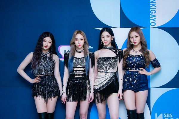 Tags: K-Pop, Television Show, Aespa, Winter, Ningning, Giselle, Karina, Necklace, Blue Background, Four Girls, Full Group, Knee Boots