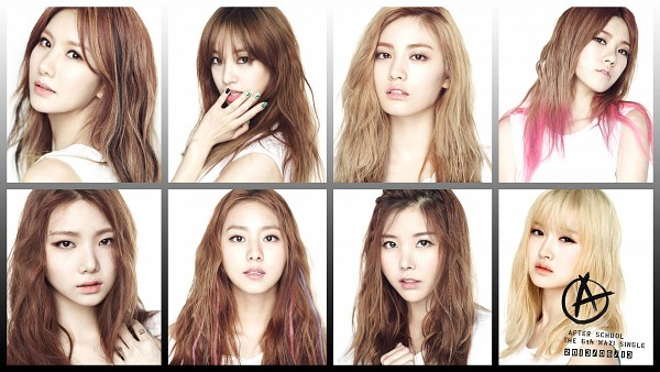 Tags: K-Pop, After School, E-young, Kim Jungah, Lizzy, Raina, Lee Jooyeon, Uee, Lee Gaeun, Nana, Multi-colored Hair, No Background