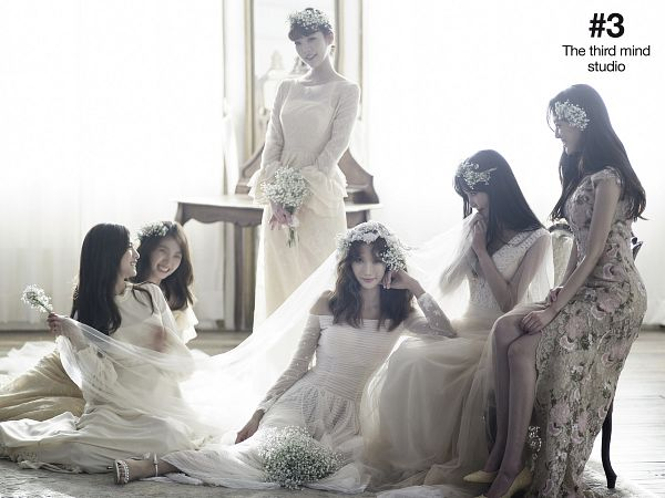 Tags: K-Pop, After School, Raina, Nana, Yoo So-young, Kim Jungah, Lee Gaeun, Lizzy, Sleeveless, White Outfit, Bare Shoulders, Wedding Dress