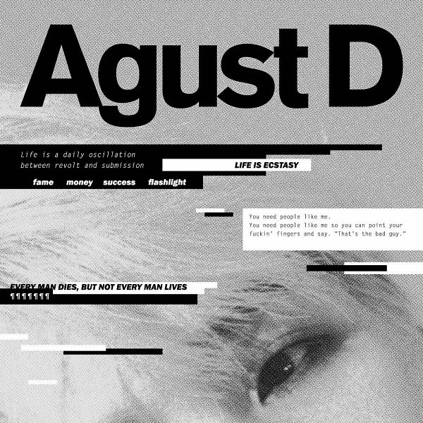 Tags: K-Pop, BTS, Suga, Close Up, English Text, Looking Away, One Eye Showing, Monochrome, Face Cut Off, Text: Album Name, Album Cover, Agust D (Mixtape)