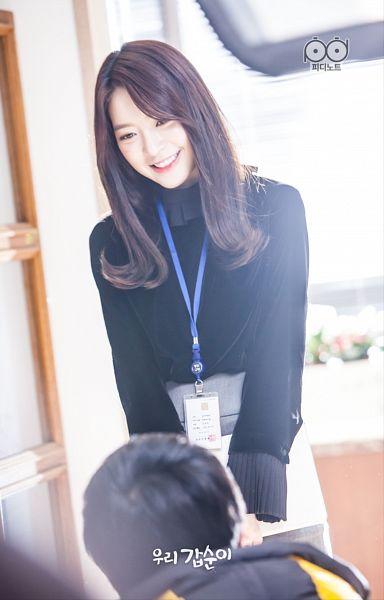 Tags: K-Pop, K-Drama, Dal Shabet, Ah Young, Grin, Black Eyes, Standing, Black Shirt, Skirt, Teeth, Gray Skirt, Our Gap-soon