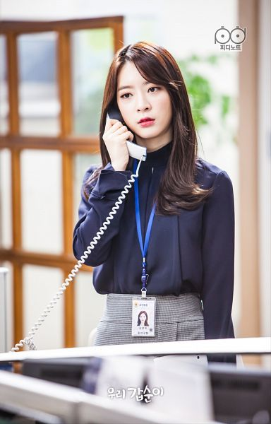Tags: K-Drama, K-Pop, Dal Shabet, Ah Young, Phone, Blue Shirt, Gray Skirt, Standing, Red Lips, Skirt, Black Eyes, Android/iPhone Wallpaper
