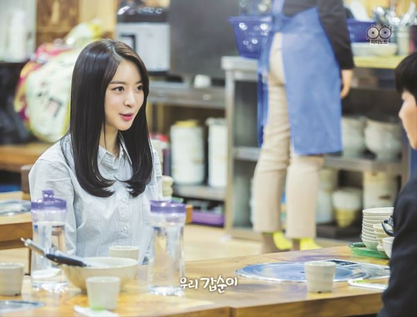 Tags: K-Drama, K-Pop, Dal Shabet, Ah Young, Bent Knees, Sitting, Cup, Table, Glass (Cup), Black Eyes, Our Gap-soon