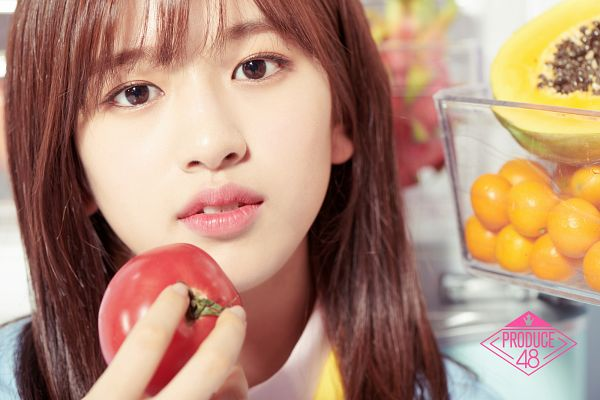 Tags: K-Pop, Television Show, Ahn Yujin, Tomato, Close Up, Papaya, Fruits, Orange (Fruit), Mnet, Produce 48