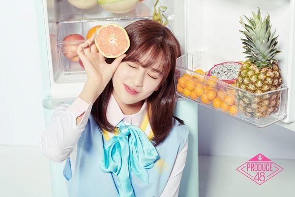 Tags: K-Pop, Television Show, Ahn Yujin, Fruits, Blue Bow, Apple, Orange (Fruit), Eyes Closed, Fridge, Bow, Melon, Pineapple