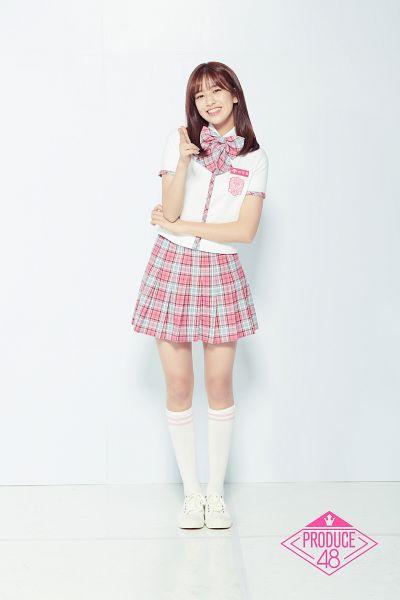 Tags: Television Show, K-Pop, Ahn Yujin, Full Body, Plaided Print, Skirt, Pleated Skirt, Plaided Skirt, Pink Skirt, Checkered Bow, Produce 48, Mnet
